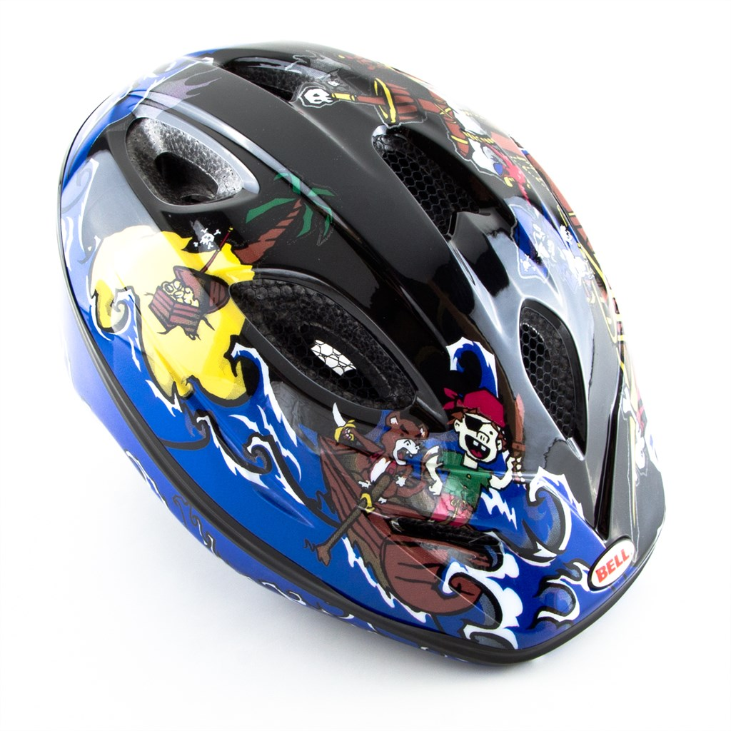 bell kinder fahrradhelm splash 10 black blue pirates 46. Black Bedroom Furniture Sets. Home Design Ideas