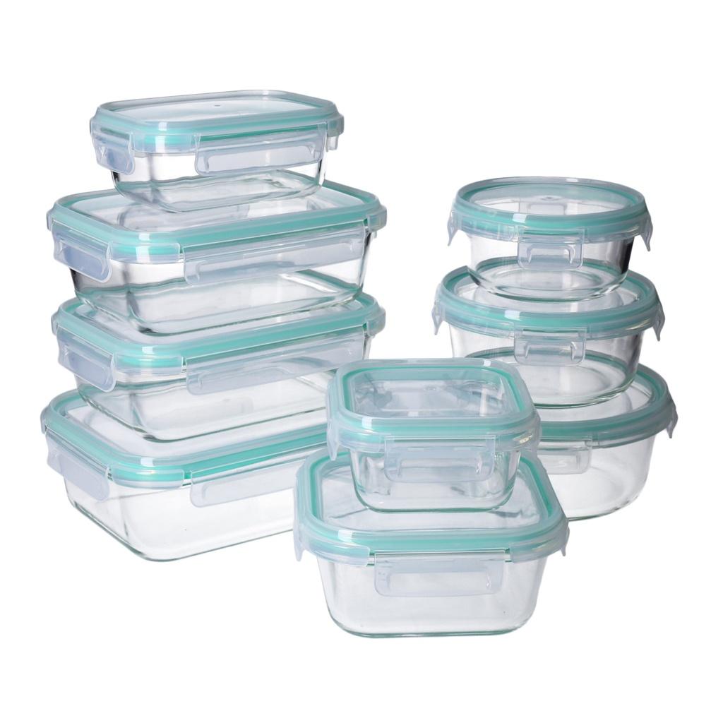 Boite Rangement Hermétique Cave détails sur set de boites alimentaires en verre, couvercle hermétique à  4-clic -georges