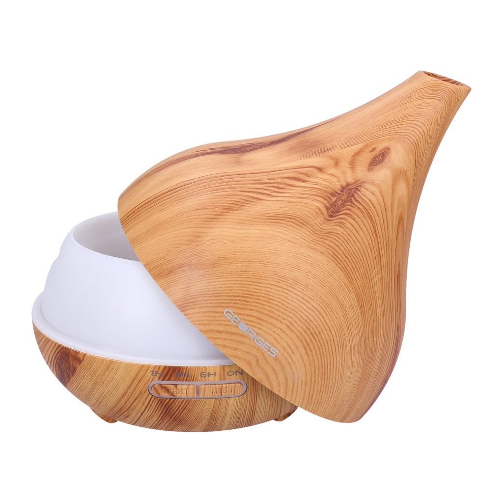 Georges-Humidifier-Aroma-Diffuser-grain-de-bois-avec-lumiere-LED-2-16-heur miniature 53