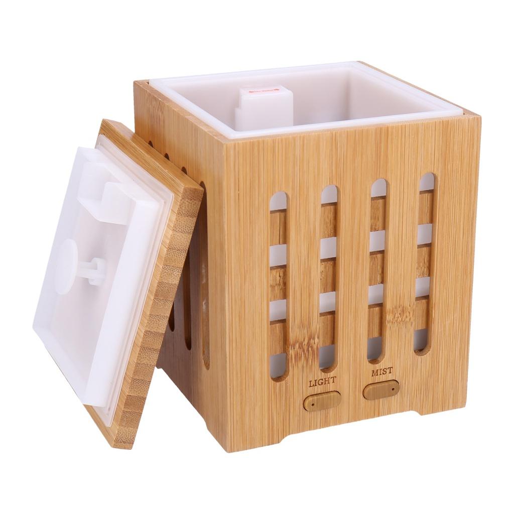 Georges-Humidifier-Aroma-Diffuser-grain-de-bois-avec-lumiere-LED-2-16-heur miniature 56
