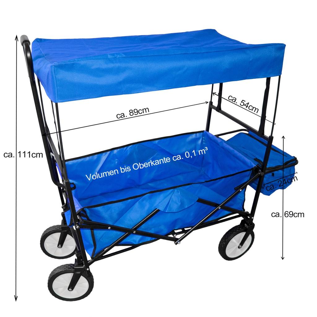 Chariot-a-tirer-pliable-avec-toit-Chariot-de-jardin-charrette-a-bras-100Kg miniature 11