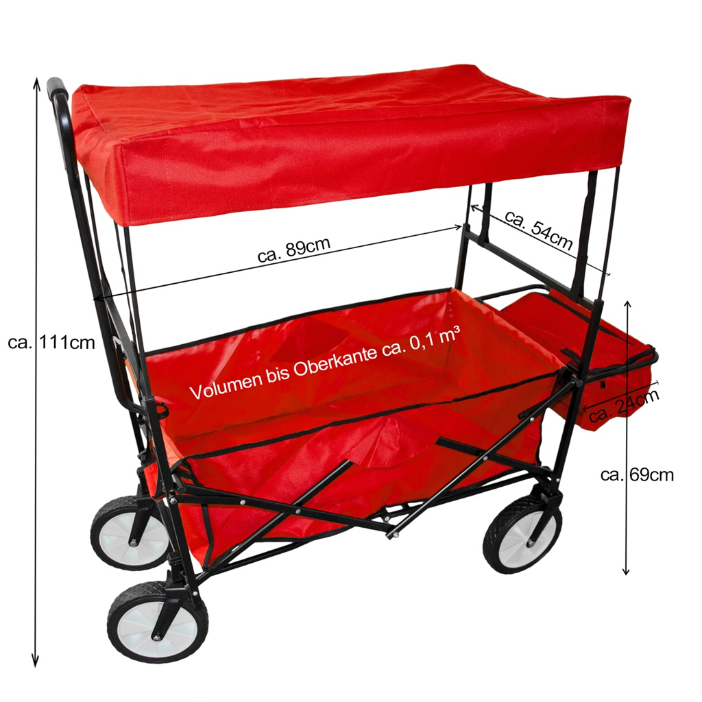 Chariot-a-tirer-pliable-avec-toit-Chariot-de-jardin-charrette-a-bras-100Kg miniature 16
