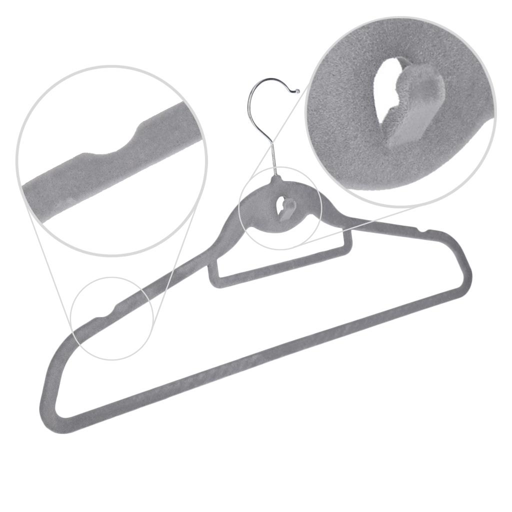 Lot-de-100-Cintres-anti-derapant-avec-housse-en-velours-45cm-econome-en-espace miniature 7